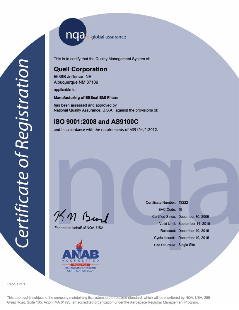 ISO 9001 and AS9100 Certification for Quell Corporation