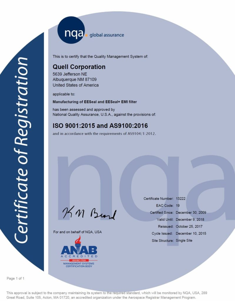 Quell ISO Certification